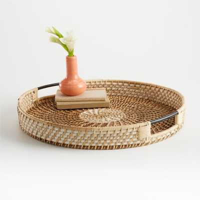 Meza Two Toned Rattan Tray - Crate and Barrel