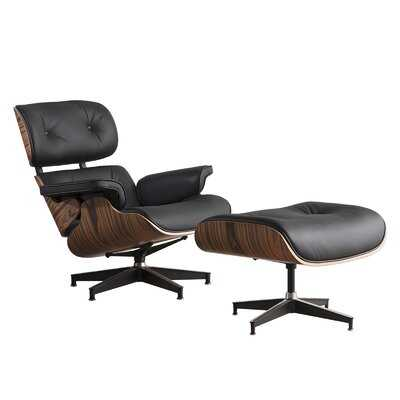Genuine Leather Chaise Lounge Chair With Ottoman - Wayfair