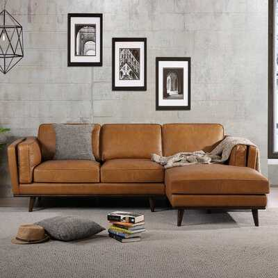 "Velasquez 92.9"" Genuine Leather Sofa & Chaise Left Hand - Wayfair"