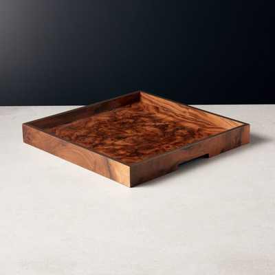 Marq Square Burl Wood Tray Large - CB2