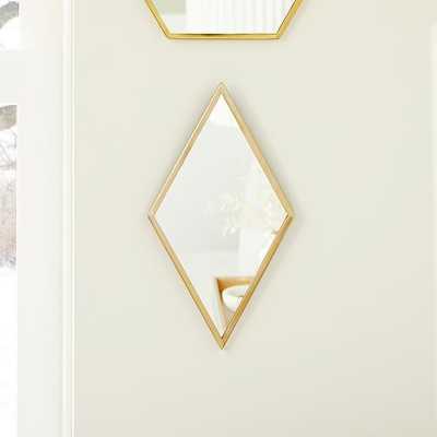 Zephyr Mirrors, Diamond, Antique Brass, Mirror, 14x8 - West Elm