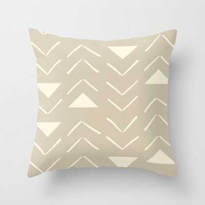 "Mud Cloth Vector In Tan Couch Throw Pillow by Becky Bailey - Cover (20"" x 20"") with pillow insert - Outdoor Pillow - Society6"