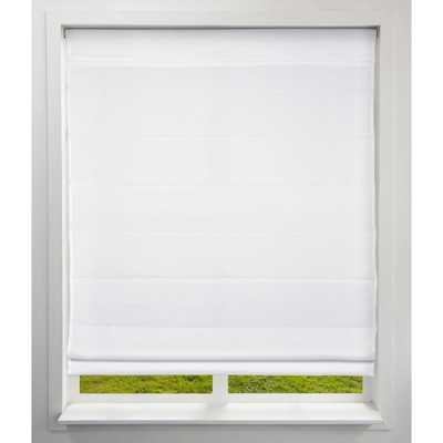 Arlo Blinds Cut-to-Size Cloud White Cordless Bottom Up Light-Filtering Fabric Roman Shade 34.5 in. W x 60 in. L (Actual Size) - Home Depot