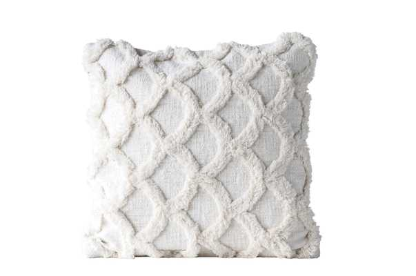 White Square Cotton Chenille Pillow - Nomad Home