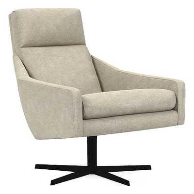 Austin Swivel Chair, Poly, Distressed Velvet, Light Taupe, Antique Bronze - West Elm
