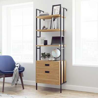 "Cesara 74.88"" H x 25.08'' W Metal Etagere Bookcase - Wayfair"