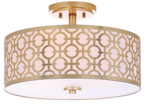 Vera Chain-Link 3 Light 15.5-Inch Dia Flush Mount - Gold - Arlo Home - Arlo Home