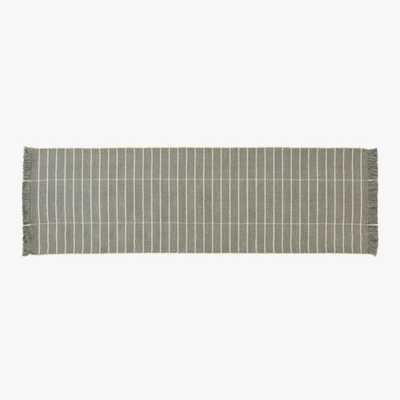 Reed Grey/White Stripe Runner 2.5'x8' - CB2
