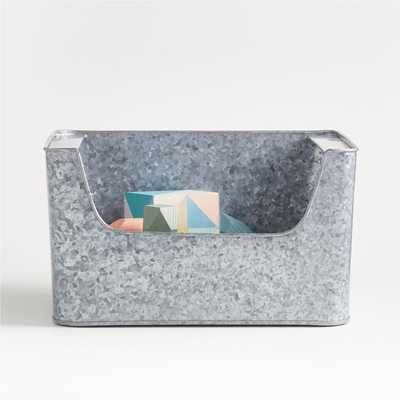 Small Silver Metal Metal Stacking Storage Bin - Crate and Barrel