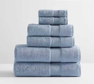 PB Classic Organic Bath, Hand, & Washcloth Towels, Set of 6, Light Blue - Pottery Barn
