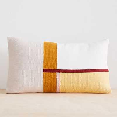 "Modernist Color Block Pillow Cover, Set of 2, Frost Gray, 12""x21"" - West Elm"