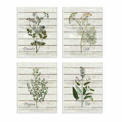 'Herbs Kitchen Dining Room Wood Textured Word Design' 4 Piece Graphic Art Set on Canvas - Wayfair