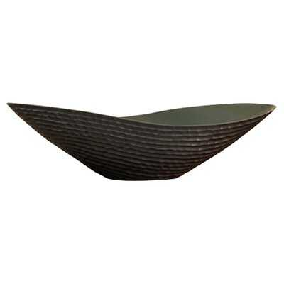 Ceramic Oval Contemporary Decorative Bowl in Dark Brown - Birch Lane