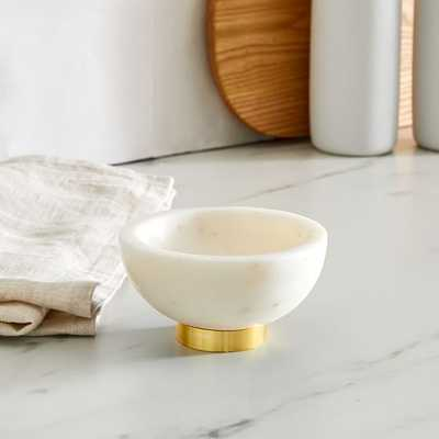 Marble Kitchen Serveware, Dip Bowl, White, Marble Brass, Individual - West Elm