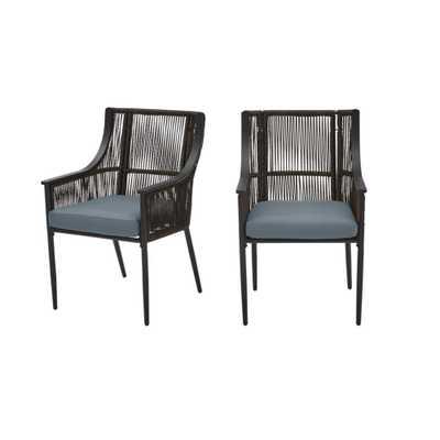 Hampton Bay Bayhurst Black Wicker Outdoor Patio Stationary Dining Chair with Sunbrella Denim Blue Cushions (2-Pack) - Home Depot