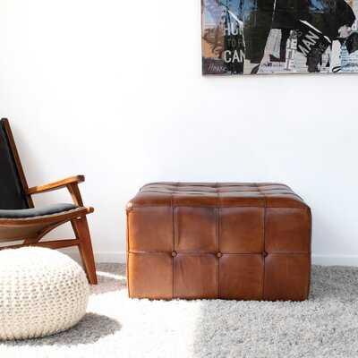 "Guidi 27.5"" Genuine Leather Tufted Square Cocktail Ottoman - AllModern"