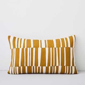 "Crewel Linear Pillow Cover, Dark Horseradish, 12""x21"" - West Elm"