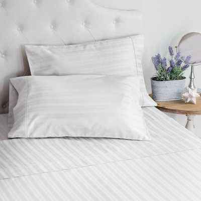 WELHOME The LuxuryDamask Stripe Sateen White Queen Sheet Set - Home Depot