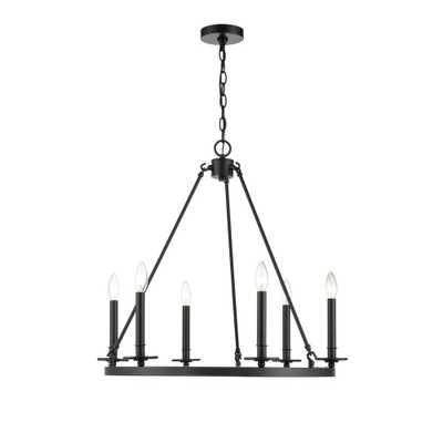 Millennium Lighting 6 Light 26 in. Matte Black Chandelier - Home Depot