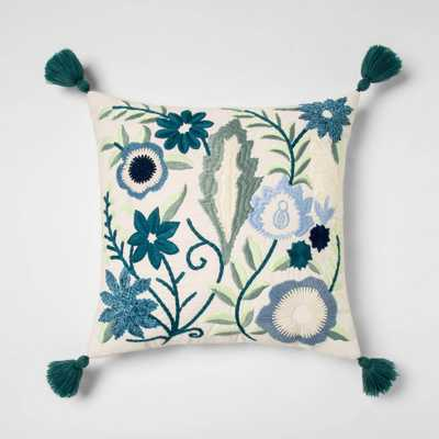Square Embroidered Floral Pillow With Tassels - Opalhouse - Target