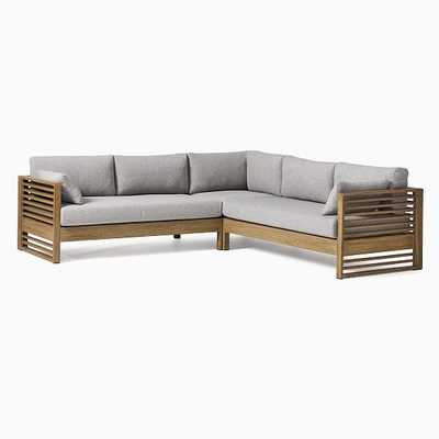 Santa Fe Slatted 3 Pc Sectional Set 3: L-Shaped 3 Piece Sectional, Driftwood/Gray - West Elm