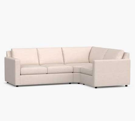 Sanford Square Arm Upholstered Left Arm 3-Piece Wedge Sectional, Polyester Wrapped Cushions, Performance Boucle Pebble - Pottery Barn