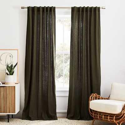 "European Flax Linen Curtain, Dark Olive, 48""x108"" - West Elm"