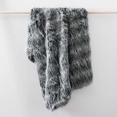 "Striped Faux Fur Throw, 47""x60"", Black - West Elm"