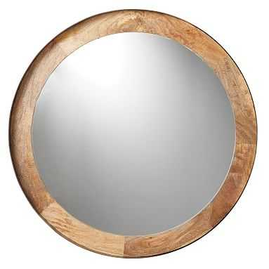 Round Wood and Metal Wall Mirror, Wood/Metal, Large - Pottery Barn Teen