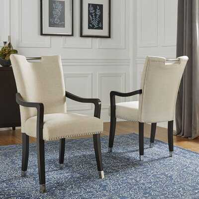 Quintan Upholstered Arm Chair in Beige (set of 2) - Wayfair