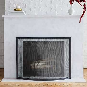 Industrial Fireplace Screen, Black - West Elm