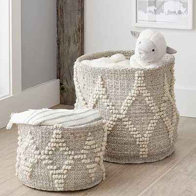 Winter Bohemian Wool Basket, White and Silver Metallic - West Elm