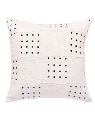 dotted mud cloth pillow in white - with insert - PillowPia
