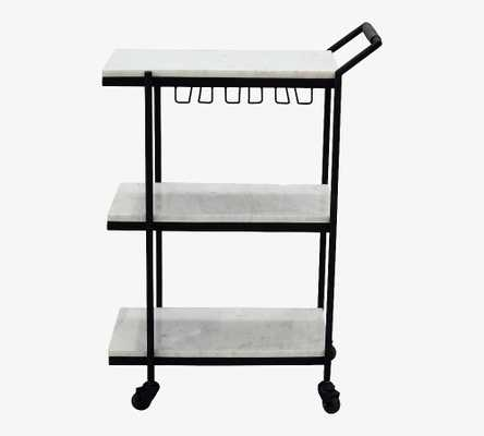 "Laval 24"" Marble Bar Cart, White Marble & Black - Pottery Barn"