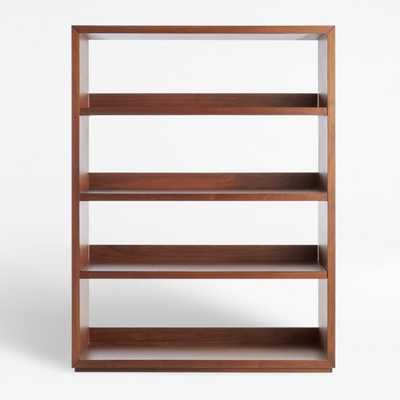Aspect Walnut Modular Open Double Bookcase - Crate and Barrel
