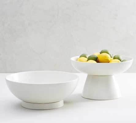 Mason Stoneware Footed Serving Bowls, Set of 2 - Ivory - Pottery Barn