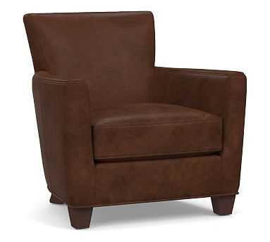Irving Square Arm Leather Armchair without Nailheads, Polyester Wrapped Cushions, Vegan Java - Pottery Barn