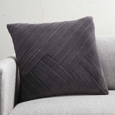 "18"" Leger Velvet Pillow Charcoal with Feather-Down Insert - CB2"