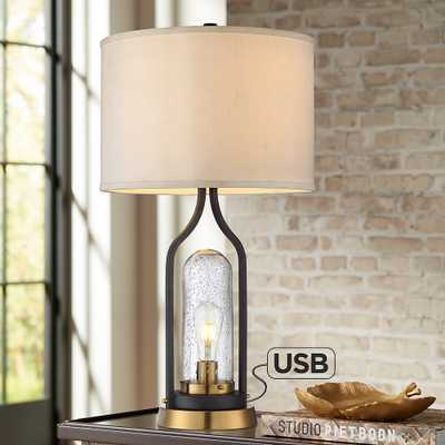 Parker Bronze Farmhouse USB Table Lamp with LED Night Light - Style # 80N28 - Lamps Plus