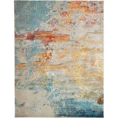 Talmo Abstract Blue/Yellow/Ivory Area Rug - Wayfair