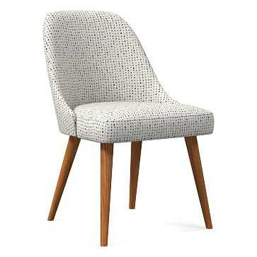 Mid-Century Upholstered Dining Chair, Drawn Dots, Gray Multi, Pecan - West Elm