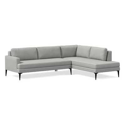 Andes Petite Sectional Set 53: Left Arm 2.5 Seater Sofa, Right Arm Terminal Chaise, Poly, Heathered Crosshatch, Feather Gray, Dark Pewter - West Elm