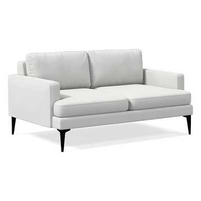 """Andes 60"""" Sofa, Performance Washed Canvas, Stone White, Dark Pewter - West Elm"""