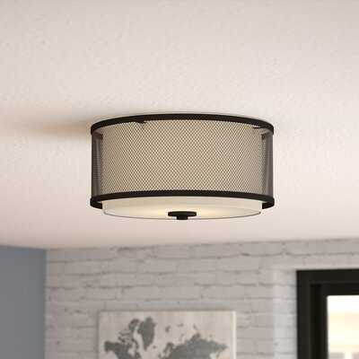 "Birchfield 3-Light 10"" Shaded Drum Flush Mount - Wayfair"