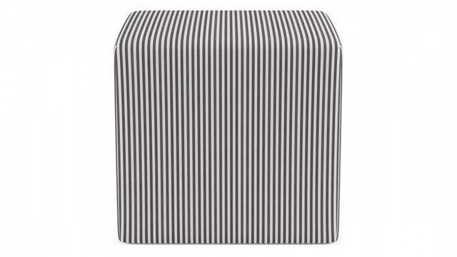 Cube Ottoman | Black Ticking Stripe - The Inside
