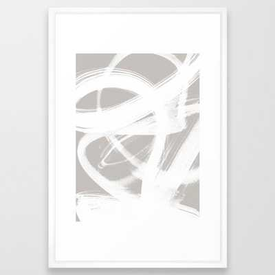 Abstract Brush Strokes 6 Framed Art Print by Mareike BaPhmer - Vector White - LARGE (Gallery)-26x38 - Society6
