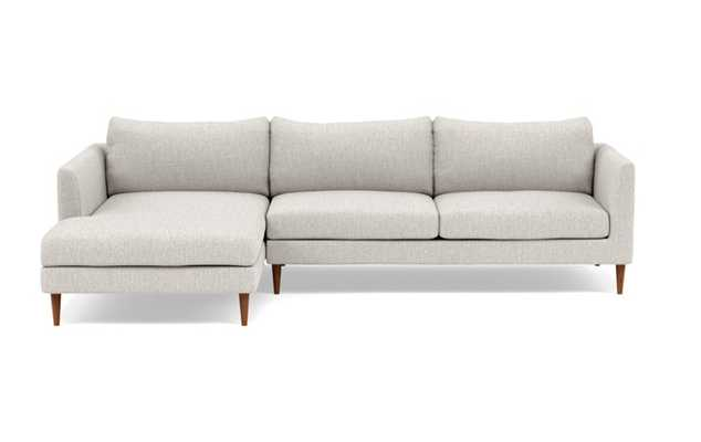 Owens Left Sectional with Beige Wheat Fabric, down alt. cushions, and Oiled Walnut legs - Interior Define