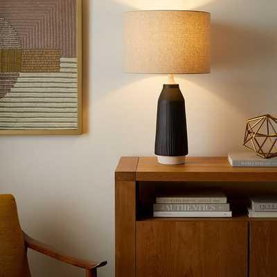 Roar & Rabbit Ripple Ceramic Table Lamp, Tall, Narrow Black, Set of 2 - West Elm