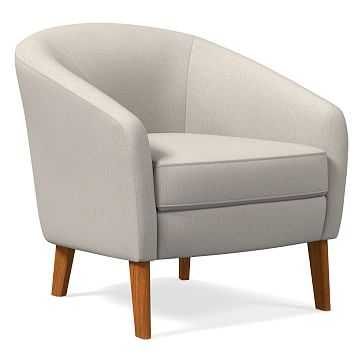 Jonah Chair, Yarn Dyed Linen Weave, Stone White, Pecan - West Elm