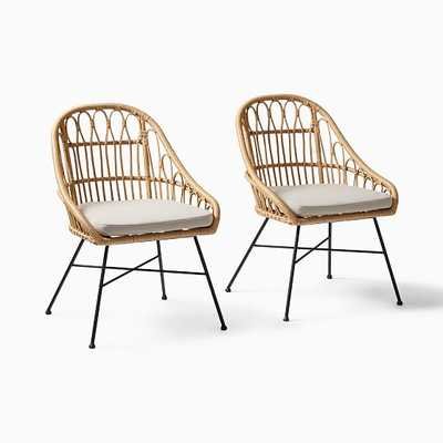Palma Dining Chair, Set of 2, Rattan Natural - West Elm